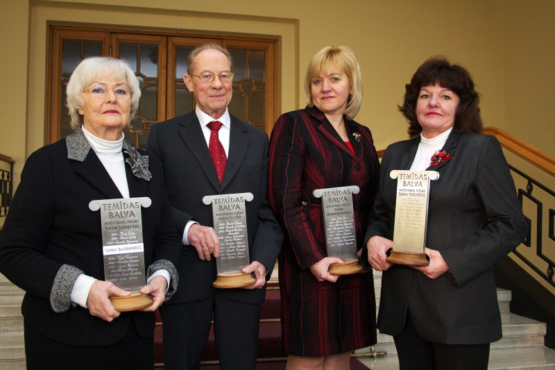 19.12.2013. Receivers of Themis Award-2013: (from the left) Inta Kirse, the Employee of the Year, Kalvis Torgans – the Person of the Year, Linda Vigante, Judge's Assistant of the Year, Marite Zagere – the Judge of the Year