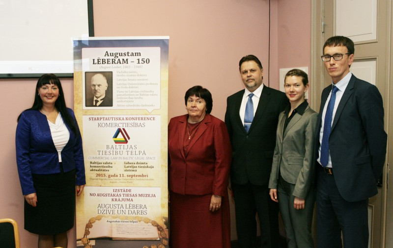 """11.09.2015. Acknowledging rich heritage of Latvian legal system, which may serve as inspiration for new ideas, the Supreme Court, in cooperation with the Faculty of Law and the journal """"Jurista Vārds"""" (""""Lawyer's Word"""") organised a conference """"Commercial Law in Baltic Legal Space"""" dedicated to the 150th anniversary of August Loeber, one of founders of Latvian legal system and civil law. Photo: lecturers of the Part I of the conference: Zane Petersone, Edite Vernusa, Aigars Strupiss, Jaana Lints and Gediminas Sagatys"""