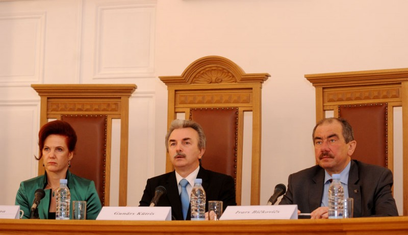 07.12.2012. Opening the seminar on constitutional law in the Constitutional Court: Solvita Aboltina, the Chair of the Saeima, Gunars Kutris, the Chair of the Constitutional Court and Ivars Bickovics, the Chief Justice of the Supreme Court