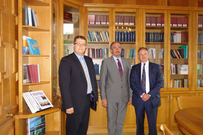 30.05.2014. During visit to Latvia, Richard Whish, the Professor Emeritus of London King's College, Honorary Queen's Counsel, visited the Supreme Court, where he met Ivars Bickovics, the Chief Justice of the Supreme Court and got familiarised with the museum of the Court. In the picture – Edijs Poga, the Director of the Latvian Law Institute (from the left), Ivars Bickovics, the Chief Justice of the Supreme Court, and Richard Whish, the Professor Emeritus of the London King's College