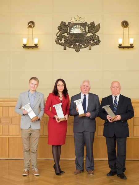19.12.2014. Themis Award – 2014. From the left: Jekabs Lacis, the Employee of the Year, Renate Vernusa, the Judge's Assistant of the Year, Voldemars Cizevskis, the Judge of the Year, Gunars Aigars – the Person of the Year