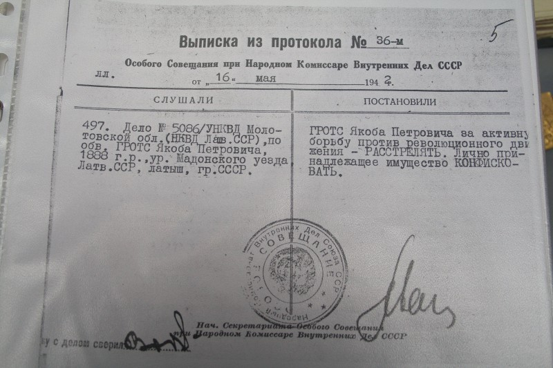 Order of 16 May 1942 by the special meeting of USSR Commissioner for Internal Affairs on shooting former senator Jekabs Grots.