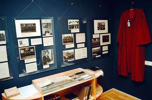 Historical exhibition of the Supreme Court is displayed in the basement of the Supreme Court building. The entrance to the basement is through an extremely heavy iron door. According to rumours, it was planned to build bomb shelter there in Soviet period