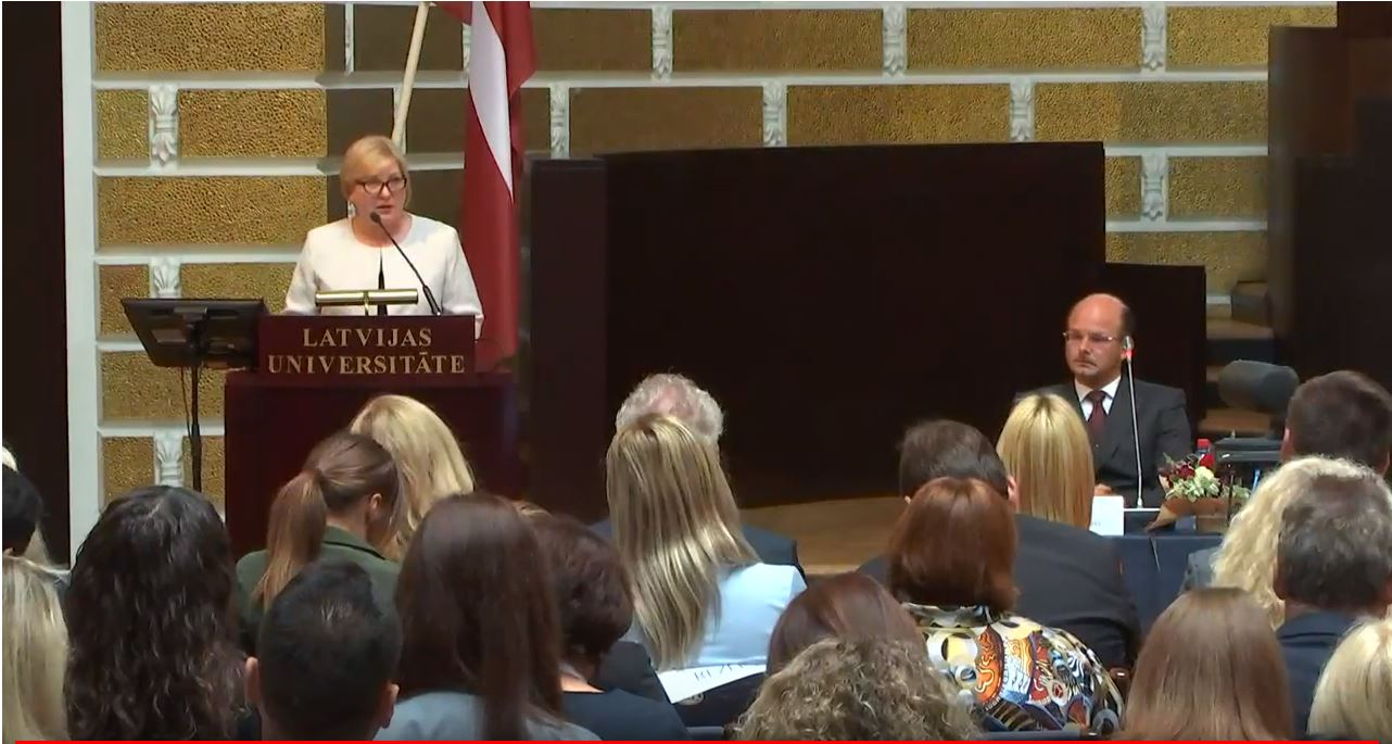 """06.09.2019. The anniversary of the establishment of administrative courts was celebrated by the Conference """"Jurisdiction of Administrative Courts Arising from General Principles of Law"""". The opening speeches in the Great Hall of the University of Latvia were delivered by State President Egils Levits, Deputy Speaker of the Saeima Inese Libina-Egnere, Chair of the Department of Administrative Cases of the Supreme Court Veronika Krumina and Chair of the Latvian Association of Administrative Judges Lauma Paeglkalna."""