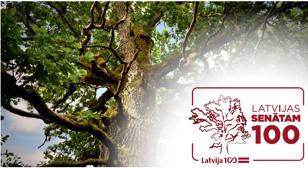 17.11.2017. The Supreme Court has chosen Sipji Oak from Rumba parish as the symbol of the centennial of the Senate of Latvia. Rumba parish is the homeland of Kristaps Valters, the first Chair of the General Assembly of the Senate of Latvia. Symbolic mark of the centenary of the Senate of Latvia was officially opened by the Supreme Court during the celebration of 99th anniversary of Latvia. The photograph of Sipji Oak will decorate the next year's calendar of the Supreme Court, but the mark of the centenary of the Senate of Latvia will be used in events dedicated to centenary of the Senate, in printed and other publications, in Supreme Court e-mails and elsewhere.