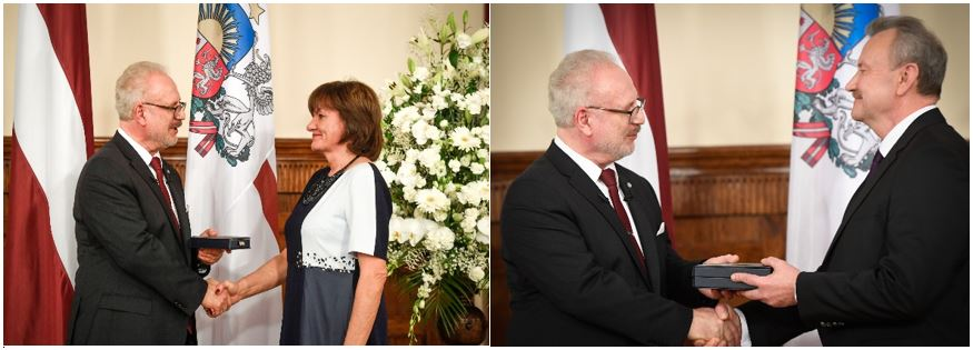 18.11.2019. Peteris Dzalbe, Chair of the Department of Criminal Cases of the Supreme Court, has been awarded the Three Star Order of the Third Class for special merits by being appointed Commander of the Three Stars Order. Whereas, Senator Marite Zagere was appointed the Officer of the Three Stars Order, thus receiving Fourth Class Order. On the 101st anniversary of the proclamation of the State, the awards were presented by President Egils Levits.