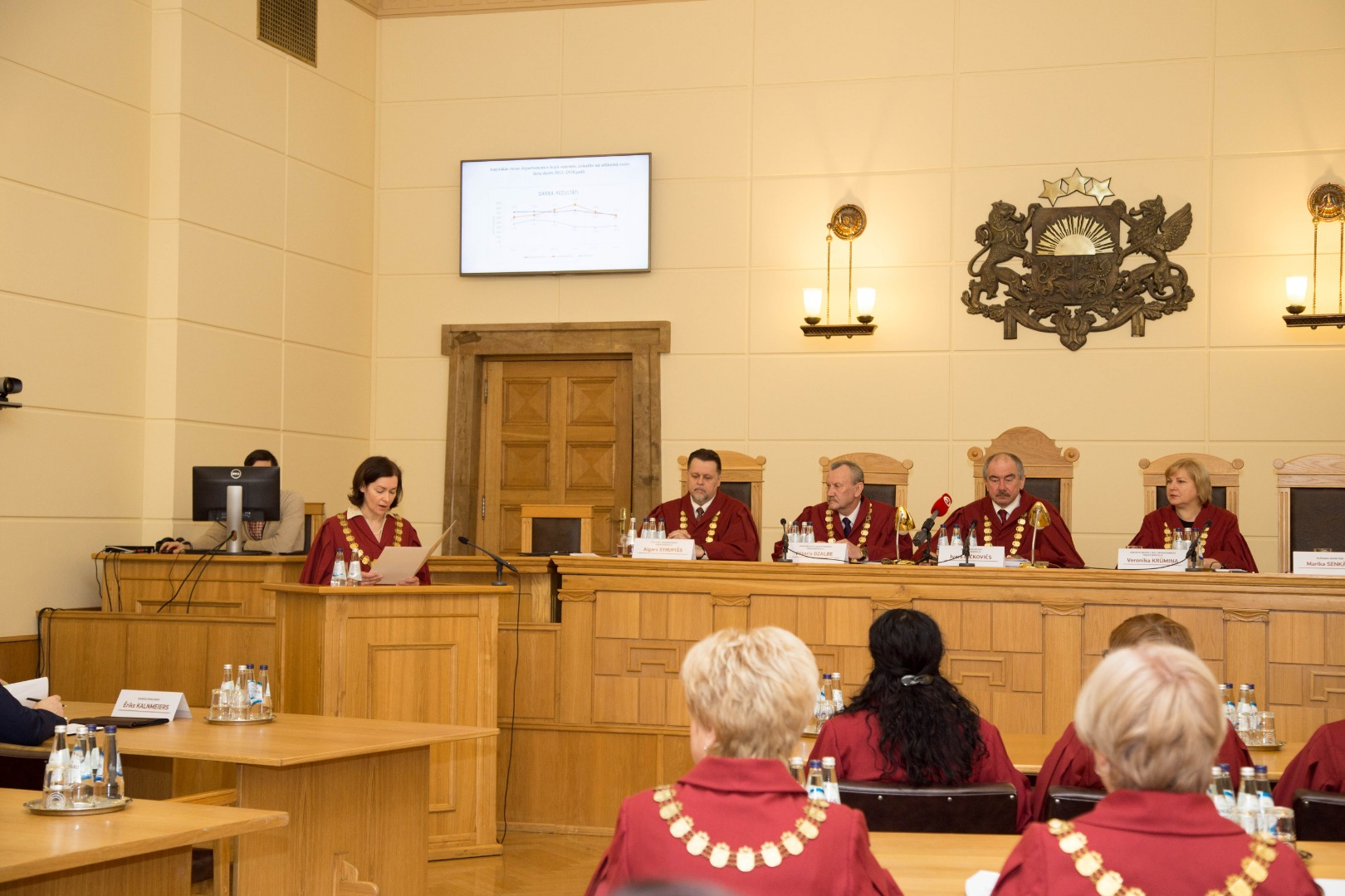 22.02.2019.  Marika Senkane, Secretary of the Plenary Session, reads out the congratulations by the State President Raimons Vejonis for the Plenary Session of the Supreme Court. The President welcomes initiatives of the Supreme Court that have strengthened the rule of law: judges have been involved in explaining the work of the Court and have not refrained from expressing their attitude towards dishonesty and fraud.
