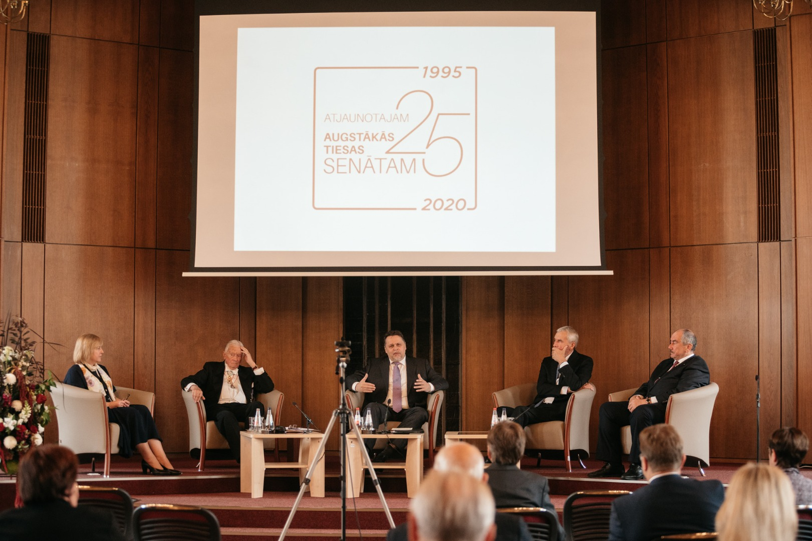 """02.10.2020. In order to mark the 25th anniversay of the Senate, the Supreme Court organized a discussion """"Senator's Personality"""". Each time period has its own challenge, and the former Chief Justices of the Supreme Court Gvido Zemribo, Andris Gulans and Ivars Bickovics spoke about them during the festive discussion. In turn, the current Chief Justice of the Supreme Court Aigars Strupiss was invited to describe the values of the 21st century senator's personality"""