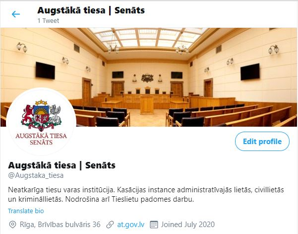 16.07.2020. The Supreme Court joins Twitter to provide accurate and up-to-date information about the Supreme Court and the Judicial Council to the general public in a convenient way. This will serve as another channel of court communication alongside the official website www.at.gov.lv.