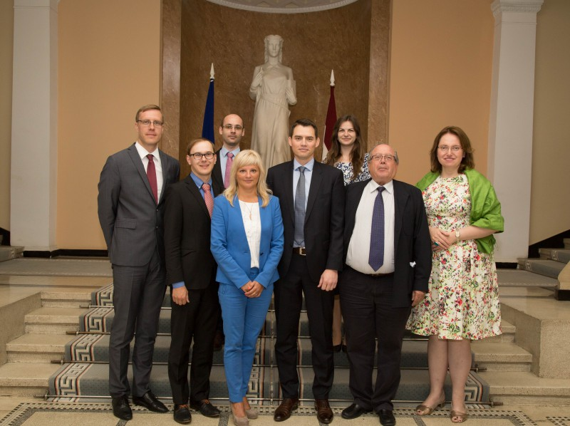 First meeting of the working group in 12 July 2016. First row: Dr.Aurimas Brazdeikis, Advisor to the President of the Supreme Court of Lithuania, Janis Supe, Project manager and Head of the Division of Document Administration, Sandra Lapina, Head of the Administration of the Supreme Court of Latvia, Prof. Dr. Grega Strban, Full Professor and Vice Dean at Faculty of Law, University of Ljubljana, Josė Ángel Folguera Crespo, Senior Judge, Staff counsel of the Supreme Court of Spain in its Technical Cabinet and Solvita Harbaceviča, Adviser on EU law issues of the Division of Case-Law and research. (Second row) – Balint Berkes, Legal assistant at International Relations and European Legal Office, Curia of Hungary and Dovilė Bružaitė, Consultant to the President of the Supreme Court of Lithuania