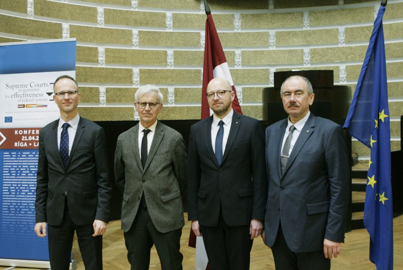 From left: Chief Justice of the Supreme Court of Lithuania Rimvydas Norkus, Representative from the European Network of Councils for the Judiciary Alain Lacabarats, Chief Justice of the Supreme Court of Estonia Priit Pikamäe and Chief Justice of the Supreme Court of Latvia Ivars Bickovics